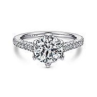 Rocio 18k White Gold Round Straight Engagement Ring angle 1