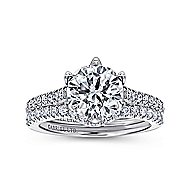 Rocio 18k White Gold Round Straight Engagement Ring angle 4