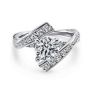 Rogue 14k White Gold Round Bypass Engagement Ring angle 1