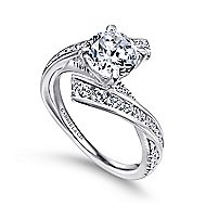 Rogue 14k White Gold Round Bypass Engagement Ring