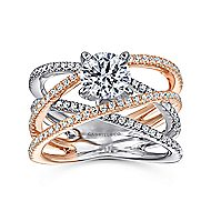Ronny 14k White And Rose Gold Round Twisted Engagement Ring angle 5
