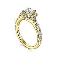 Rosalyn 14k Yellow Gold Cushion Cut Halo Engagement Ring