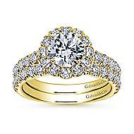 Rosalyn 14k Yellow Gold Round Halo Engagement Ring angle 4