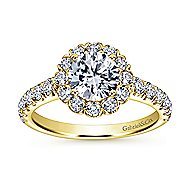 Rosalyn 14k Yellow Gold Round Halo Engagement Ring angle 5