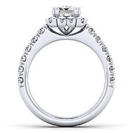 Rosalyn Platinum Emerald Cut Halo Engagement Ring angle 2