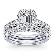 Rosalyn Platinum Emerald Cut Halo Engagement Ring angle 4