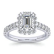 Rosalyn Platinum Emerald Cut Halo Engagement Ring angle 5