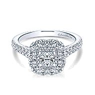 Roseley 14k White Gold Princess Cut Double Halo Engagement Ring