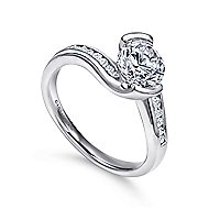 Roshana 14k White Gold Round Bypass Engagement Ring angle 3
