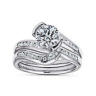 Roshana 14k White Gold Round Bypass Engagement Ring angle 4