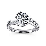 Roshana 14k White Gold Round Bypass Engagement Ring angle 5