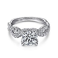 Roulette 18k White Gold Round Twisted Engagement Ring angle 1