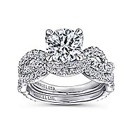 Roulette 18k White Gold Round Twisted Engagement Ring angle 4
