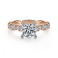 Rowan 14k White And Rose Gold Round Straight Engagement Ring angle 1
