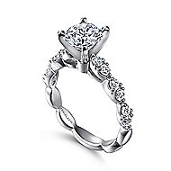 Rowan 14k White Gold Round Straight Engagement Ring angle 3