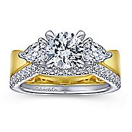 Rubia 14k Yellow And White Gold Round 3 Stones Engagement Ring
