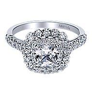 Rumi 18k White Gold Cushion Cut Double Halo Engagement Ring