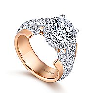 Ruth 18k White And Rose Gold Round Halo Engagement Ring angle 3