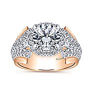 Ruth 18k White And Rose Gold Round Halo Engagement Ring angle 5