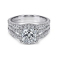 Sabrina 14k White Gold Cushion Cut Halo Engagement Ring angle 1