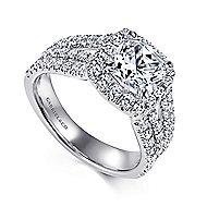 Sabrina 14k White Gold Cushion Cut Halo Engagement Ring angle 3