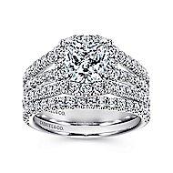 Sabrina 14k White Gold Cushion Cut Halo Engagement Ring angle 4
