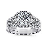 Sabrina 14k White Gold Cushion Cut Halo Engagement Ring angle 5