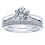 Sacred 18k White Gold Round Straight Engagement Ring angle 4