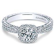 Saki 14k White Gold Round Halo Engagement Ring angle 1