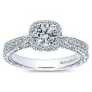 Saki 14k White Gold Round Halo Engagement Ring angle 5