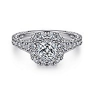 Samantha 14k White And Rose Gold Cushion Cut Halo Engagement Ring angle 1