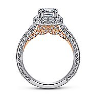 Samantha 14k White And Rose Gold Cushion Cut Halo Engagement Ring angle 2
