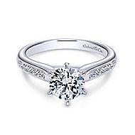 Samira 14k White Gold Round Straight Engagement Ring angle 1
