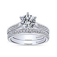 Samira 14k White Gold Round Straight Engagement Ring angle 4