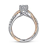 Sandrine 14k White And Rose Gold Round Twisted Engagement Ring