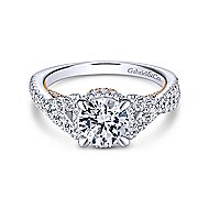 Santorini 14k White And Rose Gold Round Split Shank Engagement Ring angle 1