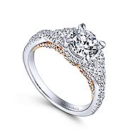 Santorini 14k White And Rose Gold Round Split Shank Engagement Ring angle 3