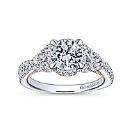 Santorini 14k White And Rose Gold Round Twisted Engagement Ring angle 5