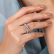 Santorini 14k White And Rose Gold Round Twisted Engagement Ring angle 6