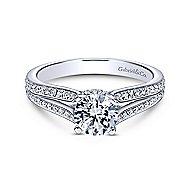 Saoirse 14k White Gold Round Split Shank Engagement Ring angle 1
