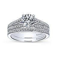 Saoirse 14k White Gold Round Split Shank Engagement Ring angle 4