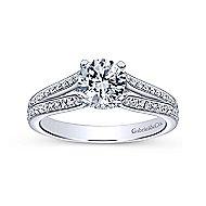 Saoirse 14k White Gold Round Split Shank Engagement Ring angle 5