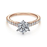 Sarah 14k White And Rose Gold Round Straight Engagement Ring angle 1