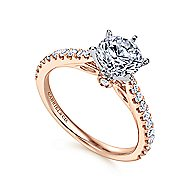 Sarah 14k White And Rose Gold Round Straight Engagement Ring angle 3