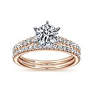 Sarah 14k White And Rose Gold Round Straight Engagement Ring angle 4