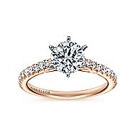 Sarah 14k White And Rose Gold Round Straight Engagement Ring angle 5