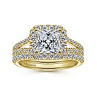 Savannah 14k Yellow Gold Princess Cut Halo Engagement Ring angle 4