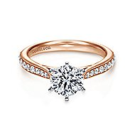 Sawyer 14k White And Rose Gold Round Straight Engagement Ring angle 1