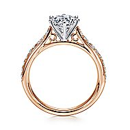 Sawyer 14k White And Rose Gold Round Straight Engagement Ring angle 2