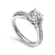 Scout 14k White Gold Round Twisted Engagement Ring angle 3